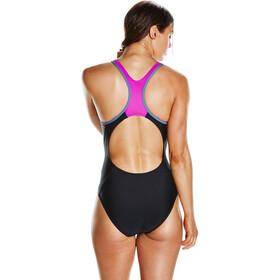 speedo Fit Laneback Swimsuit Women Black/Diva/Vita Grey